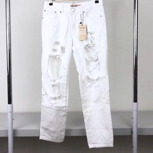 NWT nasty gal white ripped jeans L